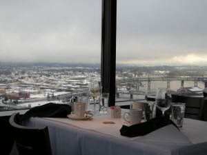 View out the window of the Portland City Grill