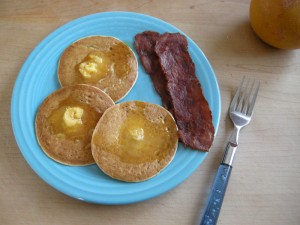 Pancakes and Bacon with orange butter