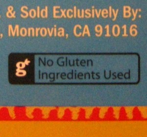 Trader Joe's No Gluten Ingredients Used Label